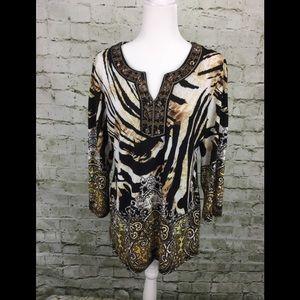 JM Collection Animal Print 3/4 Sleeves Tunic